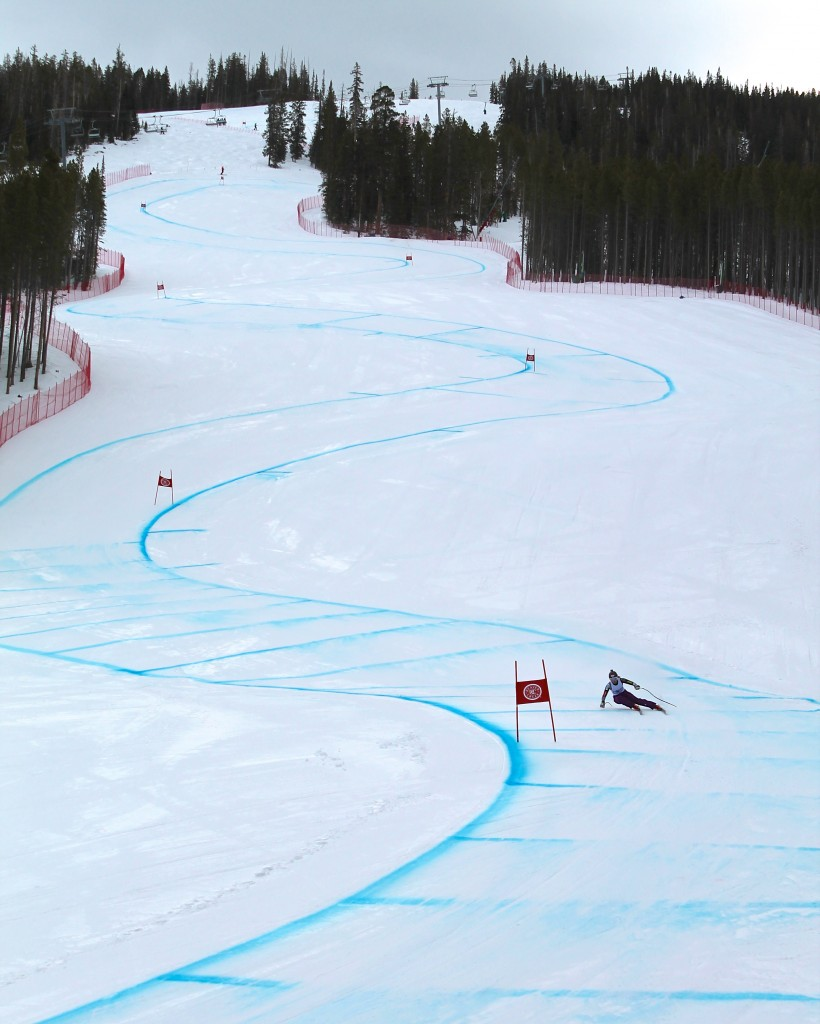 Mikaela Shiffrin trains on the new women's downhill course in Beaver Creek in April. Photo: Geoff Mintz