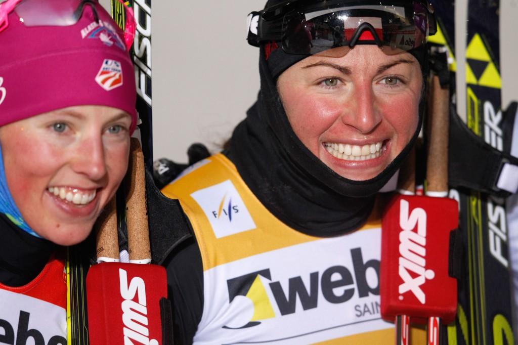 Randall with race winner Justyna Kowalczyk (GEPA/Harald Steiner)
