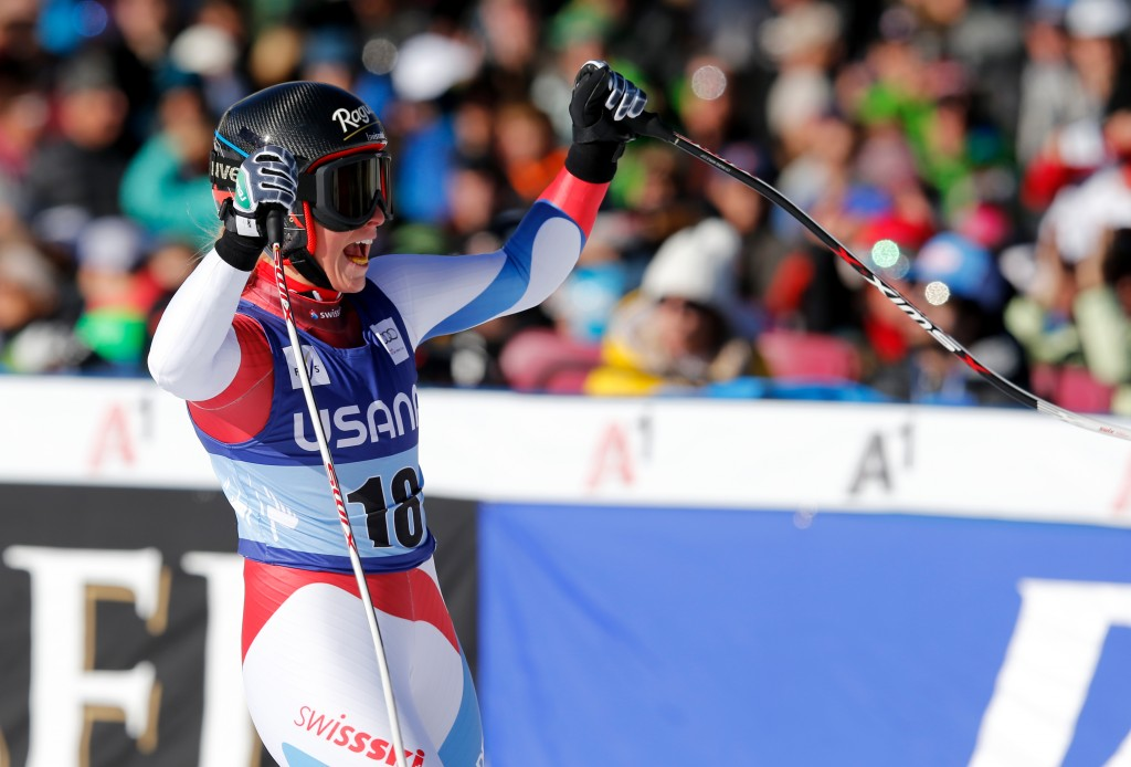 Switzerland's Lara Gut reacts after winning her third race of the season (GEPA/Wolfgang Grebien)