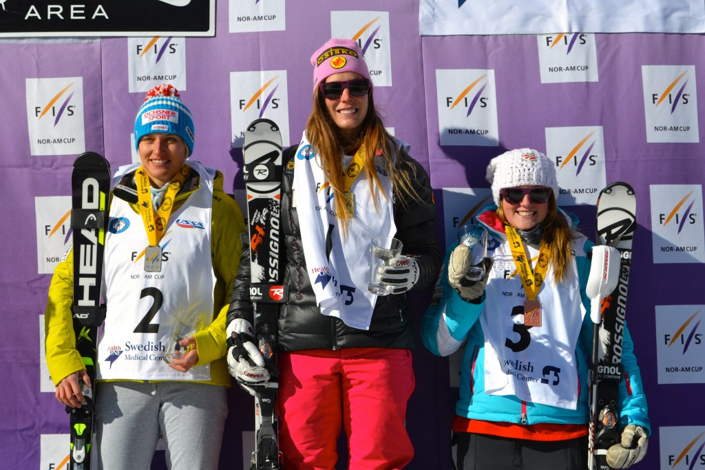The women's NorAm podium at Loveland
