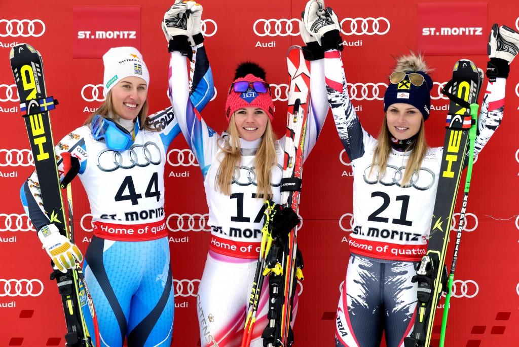 Women's podium in St. Moritz (GEPA/Walter Luger)