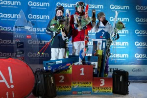 Hannah Kearney tops the podium at the moguls World Cup opener in Ruka, Finland. (FIS)