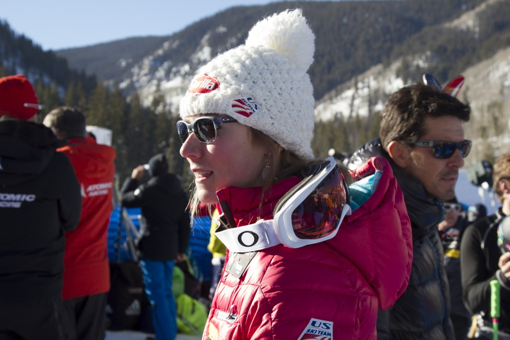 Mikaela Shiffrin in the finish area