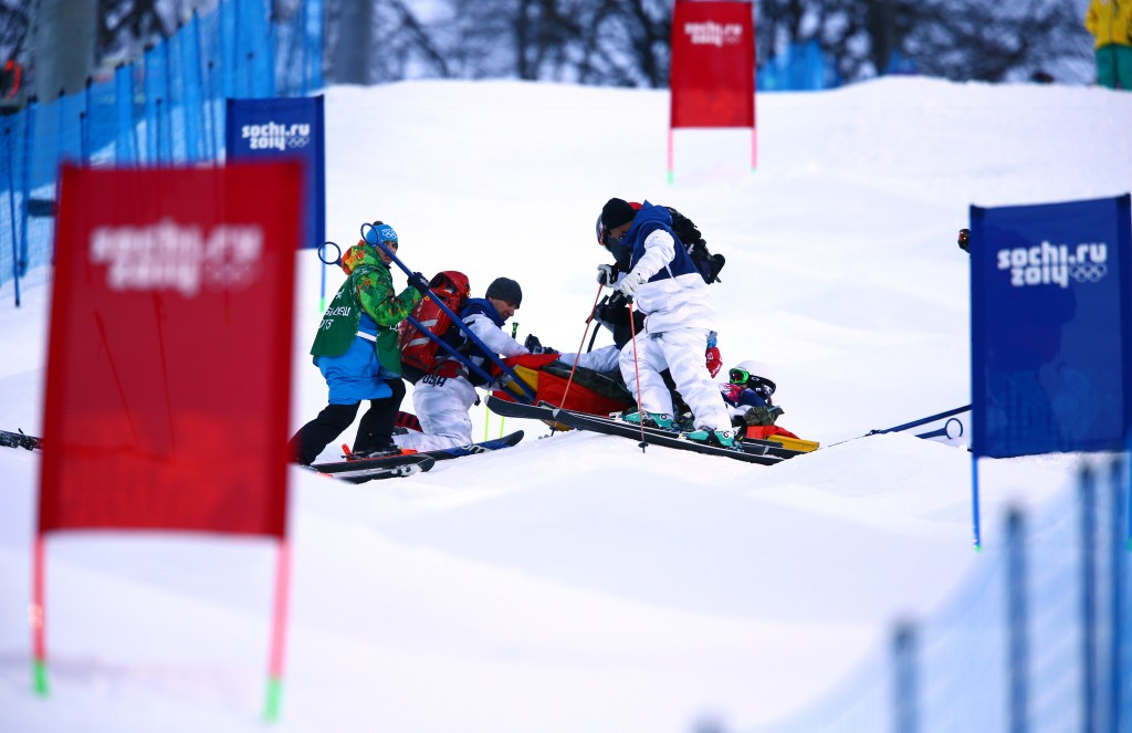 Heidi Kloser being loaded onto a sled (GEPA/USA TODAY)