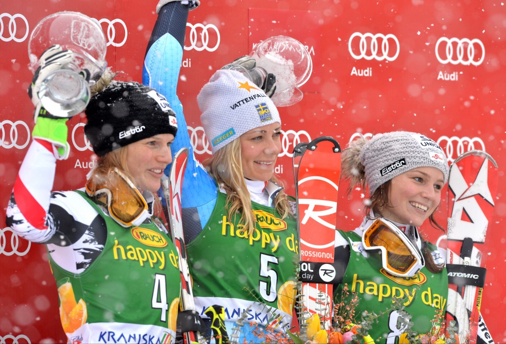 Bernadette Schild, far right, in Kranjska Gora (GEPA/Michael Riedler)
