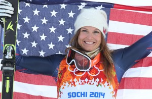 Julia Mancuso celebrates bronze in the combined Monday. (GEPA)