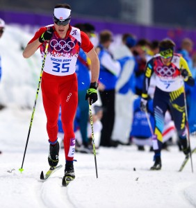 Switzerland's Dario Cologna on his way to a second gold medal. (GEPA/Ross Burton)