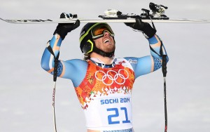 Kjetil Jansrud of Norway celebrates his gold-medal winning run in the men's super G at Rosa Khutor. (GEPA/Christian Walgram)