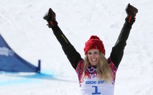 Patrizia Kummer of Switzerland celebrates gold in parallel GS. (GEPA/Andreas Pranter)