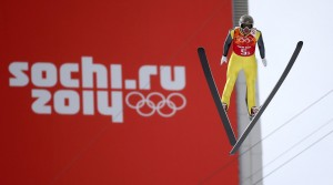 Todd Lodwick of the U.S. took his last Olympic jump on Thursday in the combined team event. (GEPA/Christian Walgram)