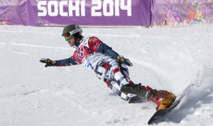 Russia's Vic Wild carves up the course en route to snowboard parallel GS gold. (GEPA/Andreas Pranter)