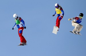 In the snowboard cross competition, from left, Nelly Moenne Loccoz and Deborah Anthonioz of France and Faye Gulini of the U.S. GEPA/ Mario Kneisl)
