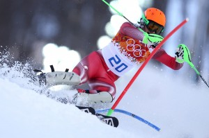 Sandro Viletta survived a tough slalom course to win his first Olympic medal, gold in the combined. (GEPA/Christian Walgram)