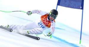 Andrew Weibrecht on his way to a silver medal in super G, his second Olympic medal. (GEPA/Andreas Prantner)