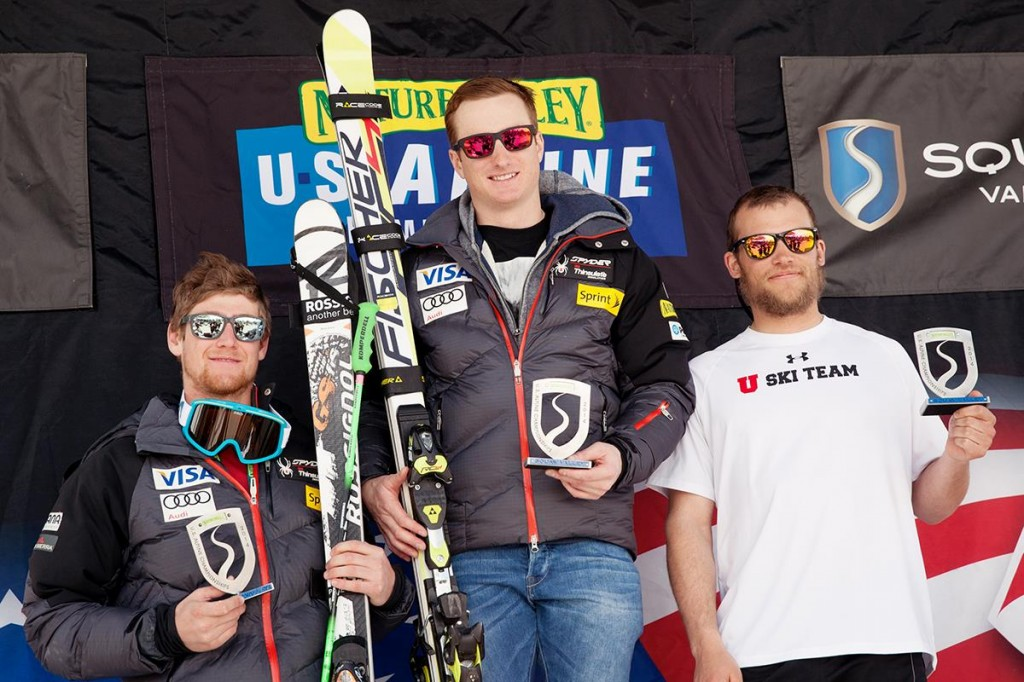 The men's FIS GS podium at Squaw Valley. USST