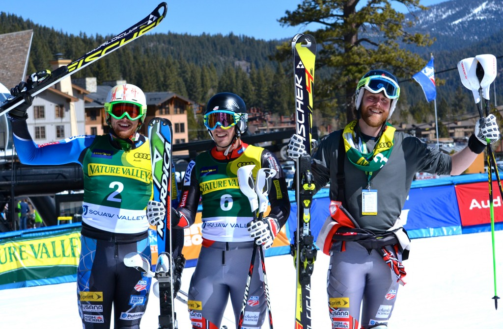 The men's slalom podium at U.S. Alpine Championships. C.J. Feehan