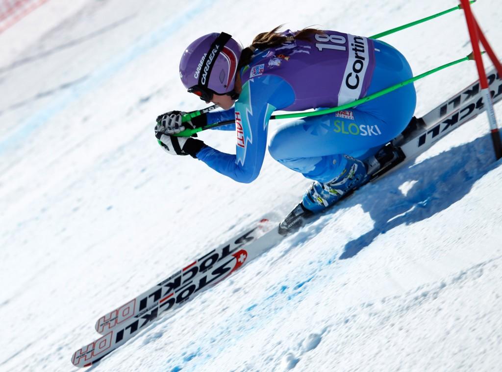 Tina Maze runs her Stoeckli skis in Cortina, Italy. GEPA/Harald Steiner