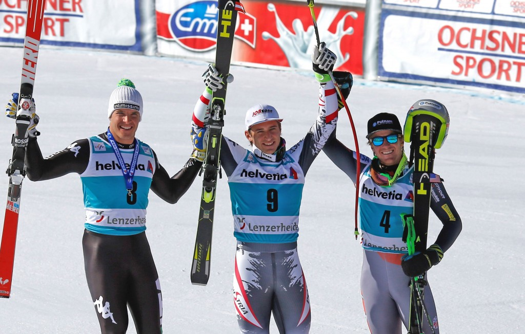 The men's downhill podium at World Cup Finals. GEPA/Wolfgang Grebien