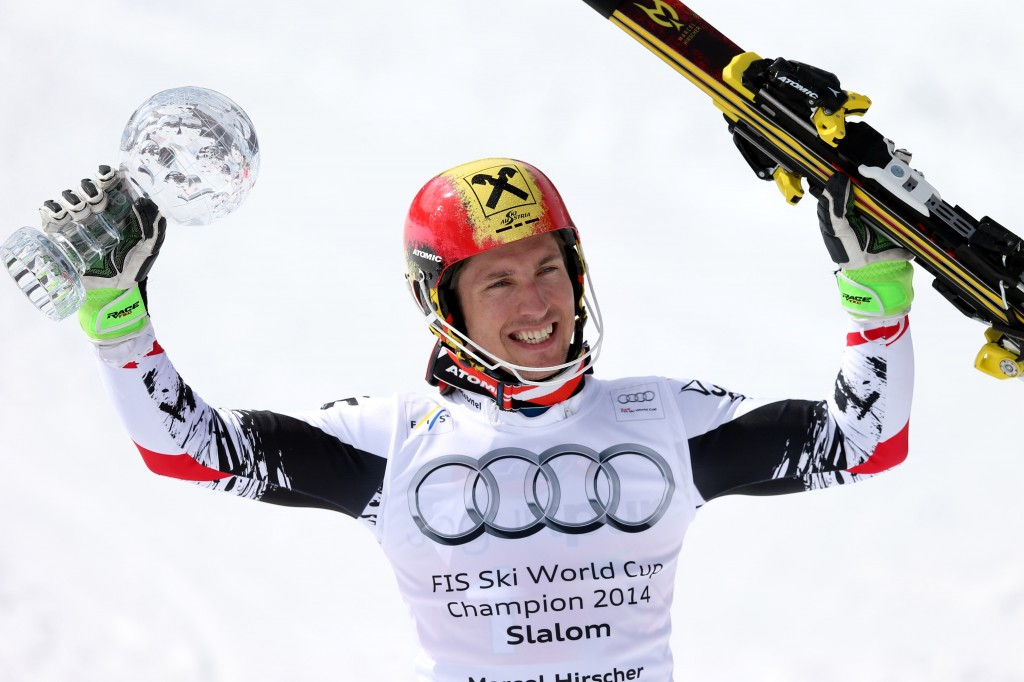 Marcel Hirscher wins his second straight slalom title. GEPA/Christian Walgram