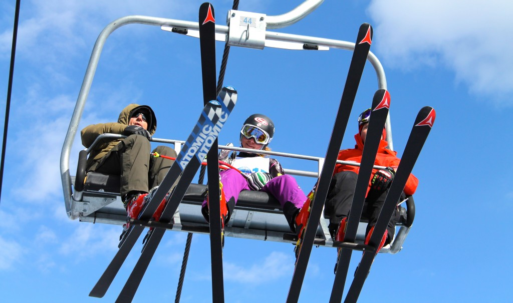 Mikaela Shiffrin rides the Birds of Prey lift while training speed on Raptor in April 2013. Ski Racing file photo/Geoff Mintz