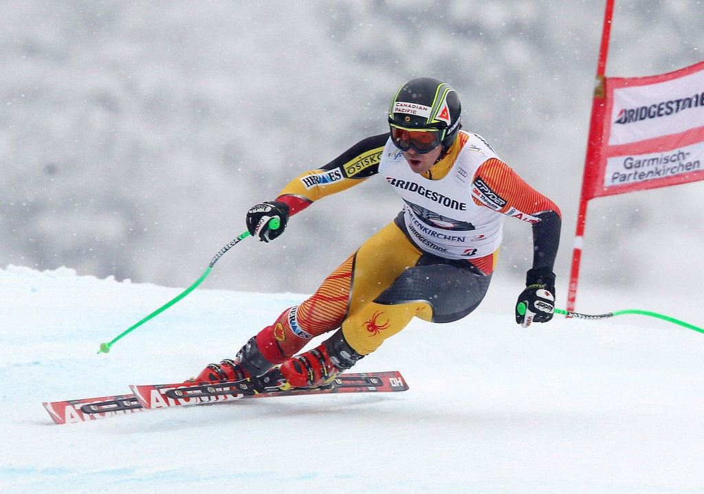 John Kucera in downhill training at Garmisch in 2013. GEPA/Mario Kneisl