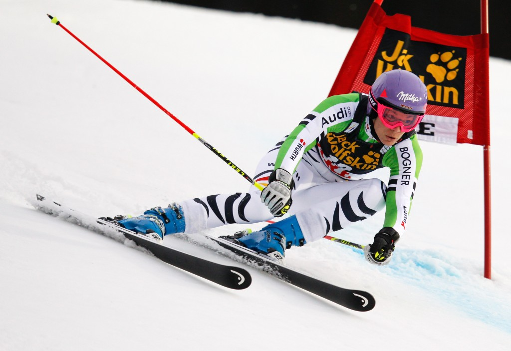 Maria Hoefl-Riesch in the Are World Cup. GEPA/Harald Steiner
