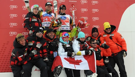 McBride with the Canadian team in Chamonix in 2012. Ale Trovati/Pentaphoto