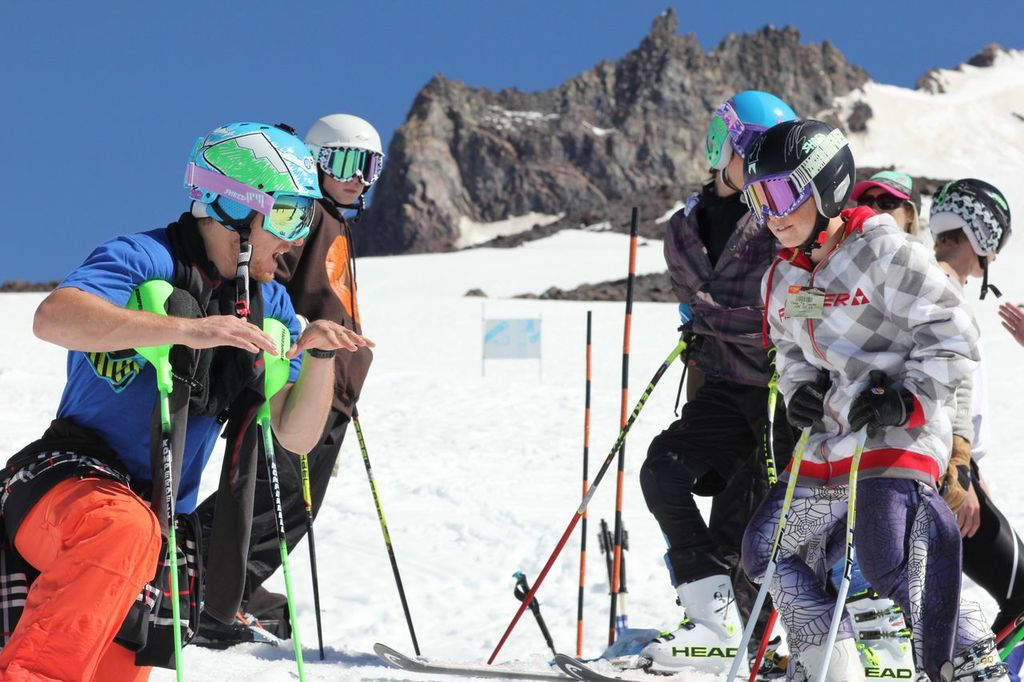 Ted Ligety coaches summer ski campers in Mt. Hood, Ore.