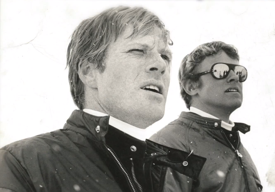 "Robert Redford and Joe Jay Jalbert on the set of ""Downhill Racer."""