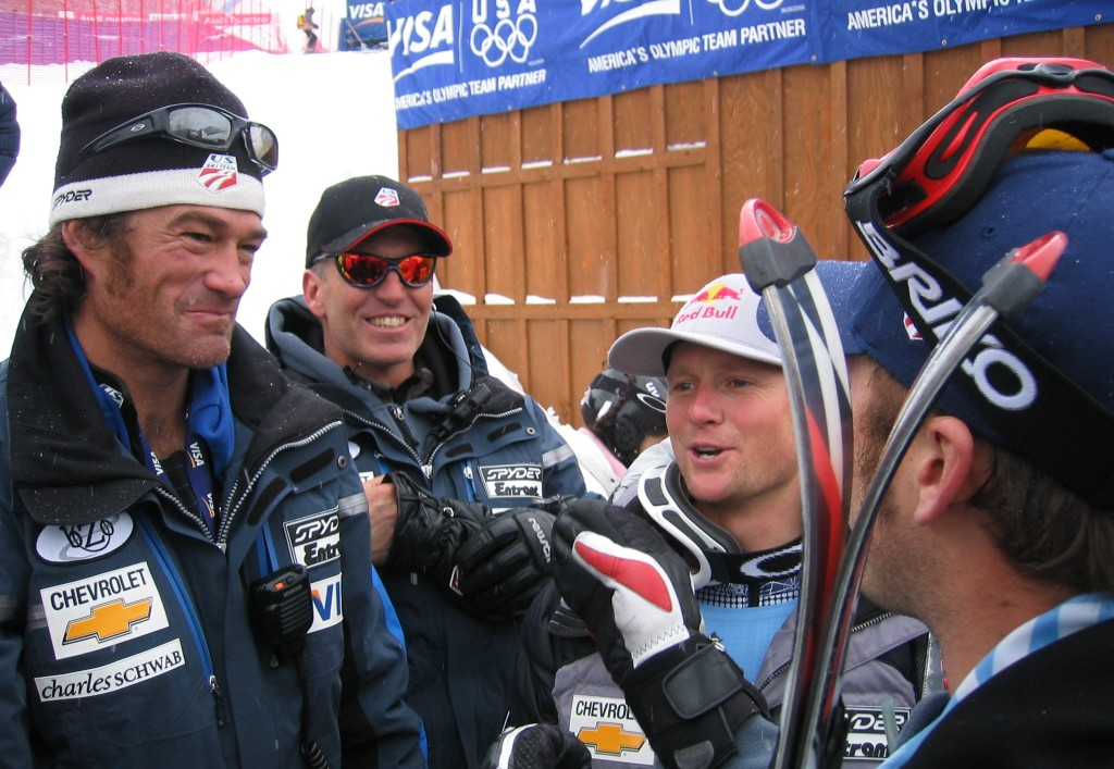 Johno McBride with Phil McNichol, Daron Rahlves and Bode Miller in 2005. USST