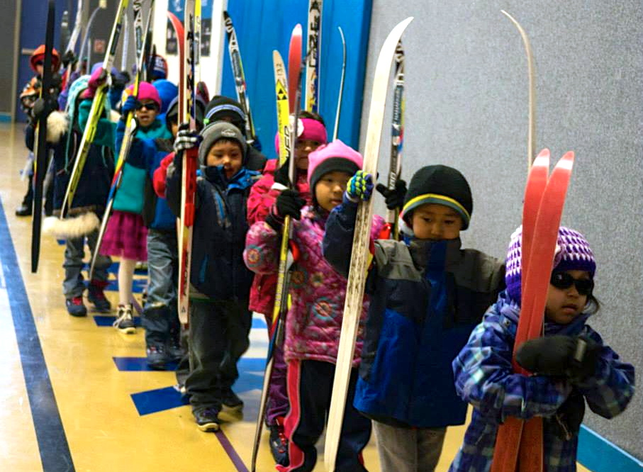 Kindergarteners in the NANANordic program get ready to ski.