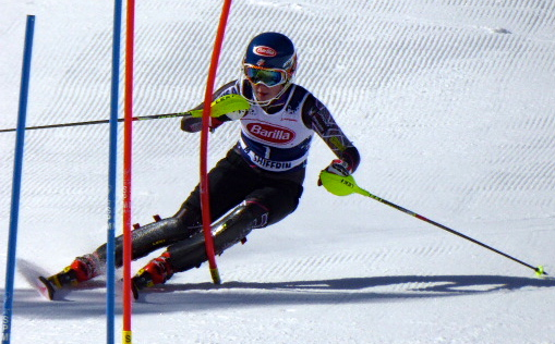 Mikaela Shiffrin training slalom at Loveland. John Hale