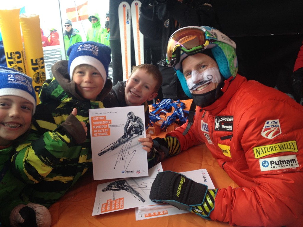 Ted Ligety signs autographs for young fans at the 2013 Birds of Prey. USST/Doug Haney