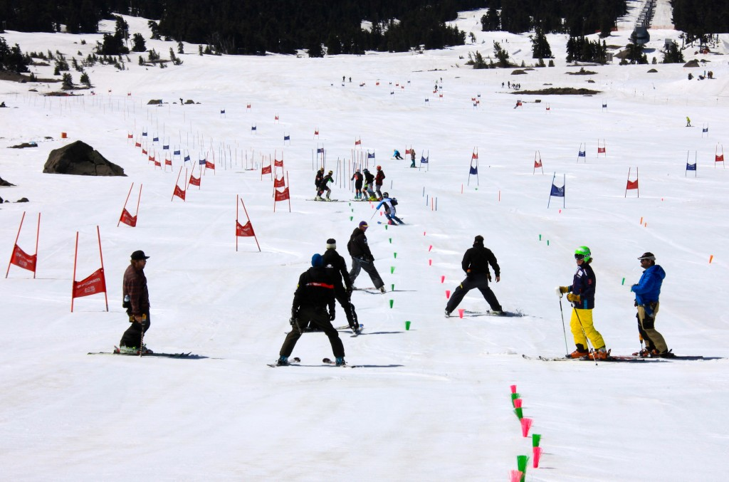 Multiple drills set up for the men's slalom camp. Lester Keller