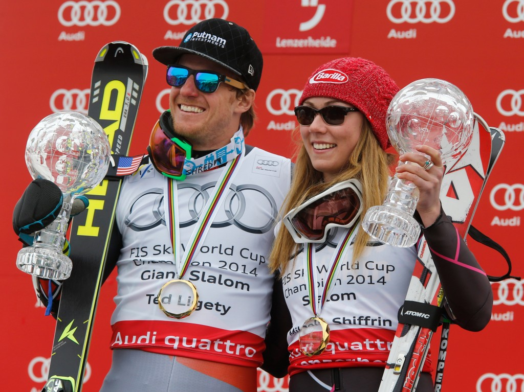 Ted Ligety and Mikaela Shiffrin at the 2014 World Cup Finals. GEPA/Wolfgang Grebien