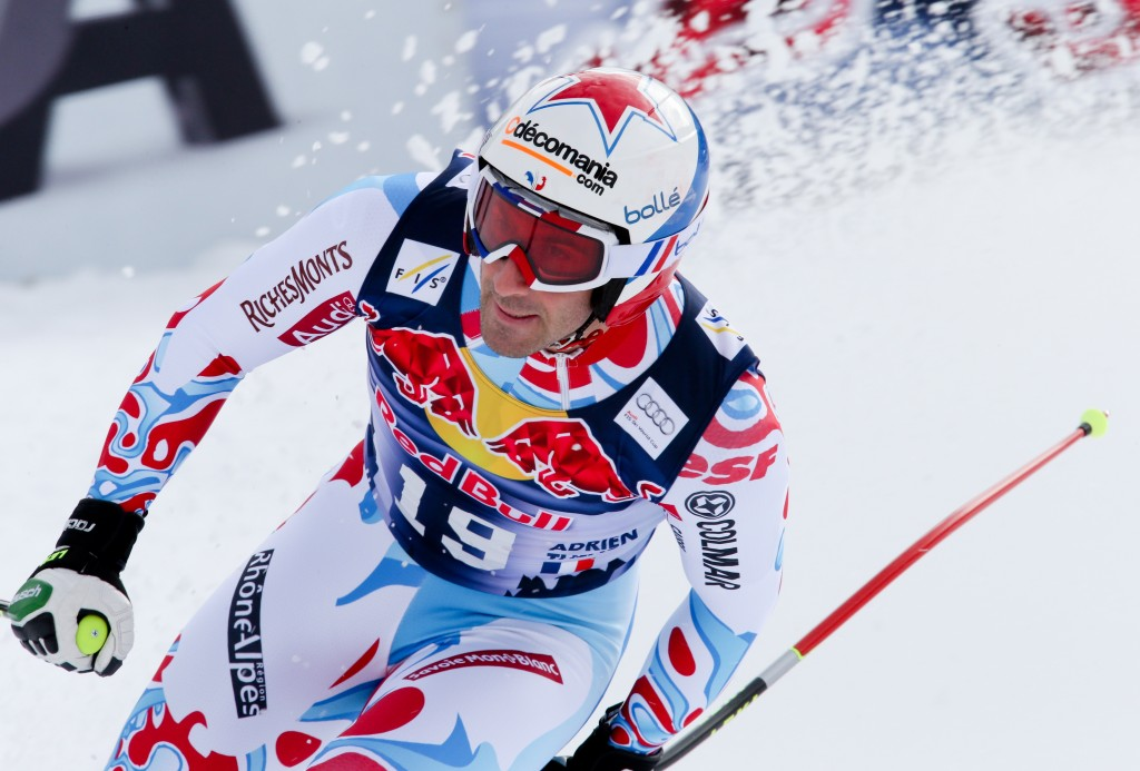 Adrien Theaux at the 2014 Kitzbuehel downhill. GEPA/Hans Oberlaender
