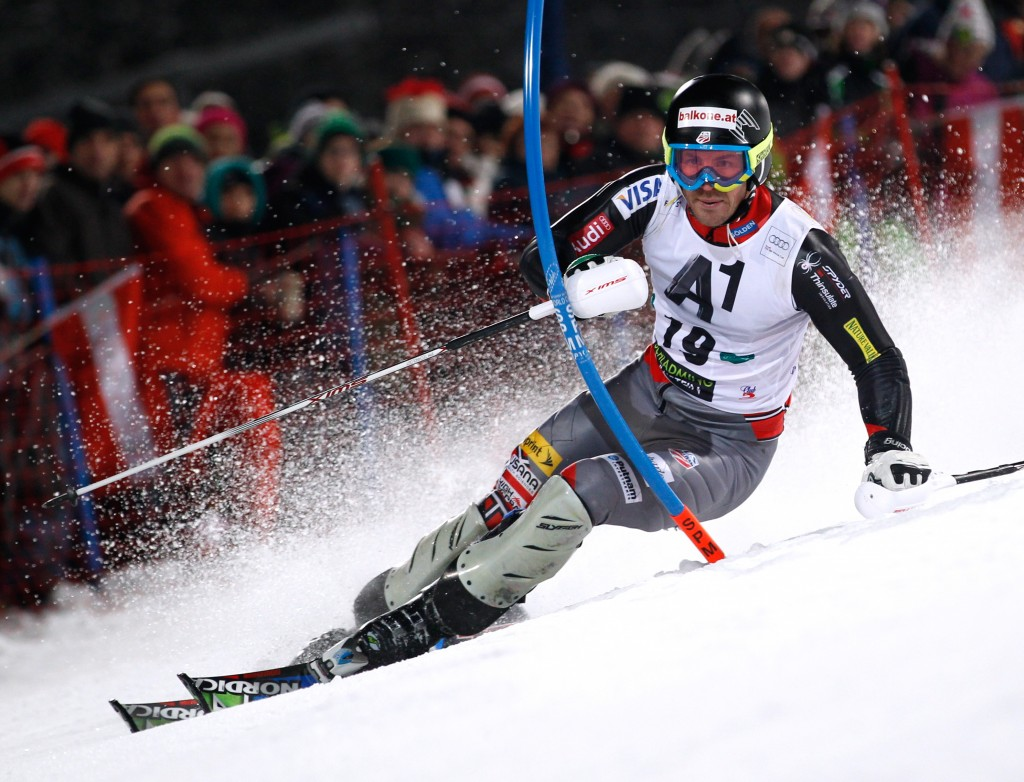 American racer David Chodounsky competes at the Schladming night slalom in January.