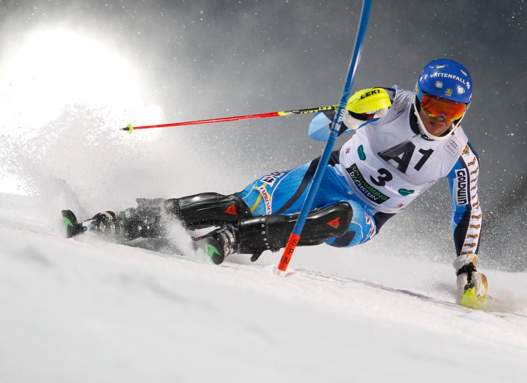 Andre Myhrer at the 2014 Schladming World Cup. GEPA/Harald Steiner