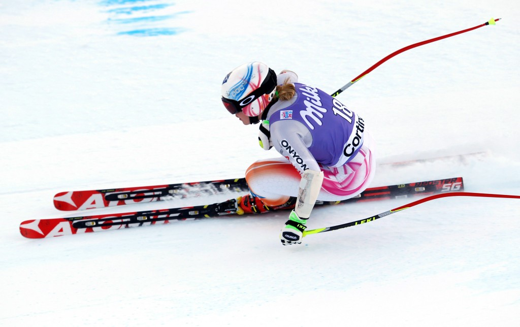 Tina Weirather racing in the 2014 Cortina World Cup super G. GEPA/Harald Steiner
