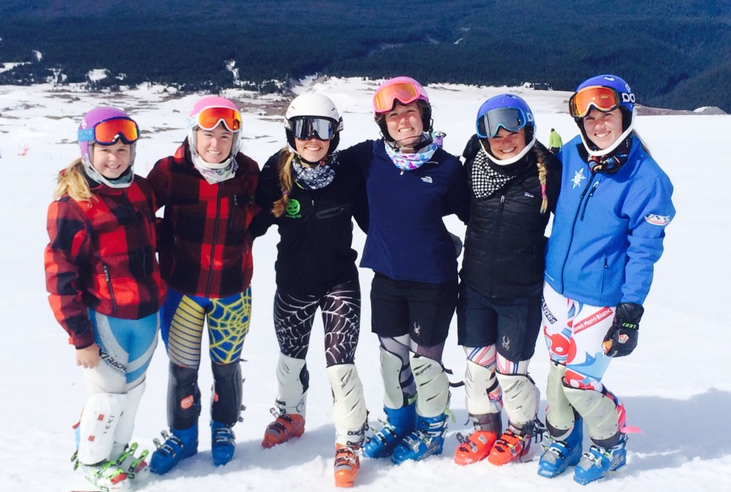 The FIS and U16 women's NTG is all smiles on Mt. Hood.