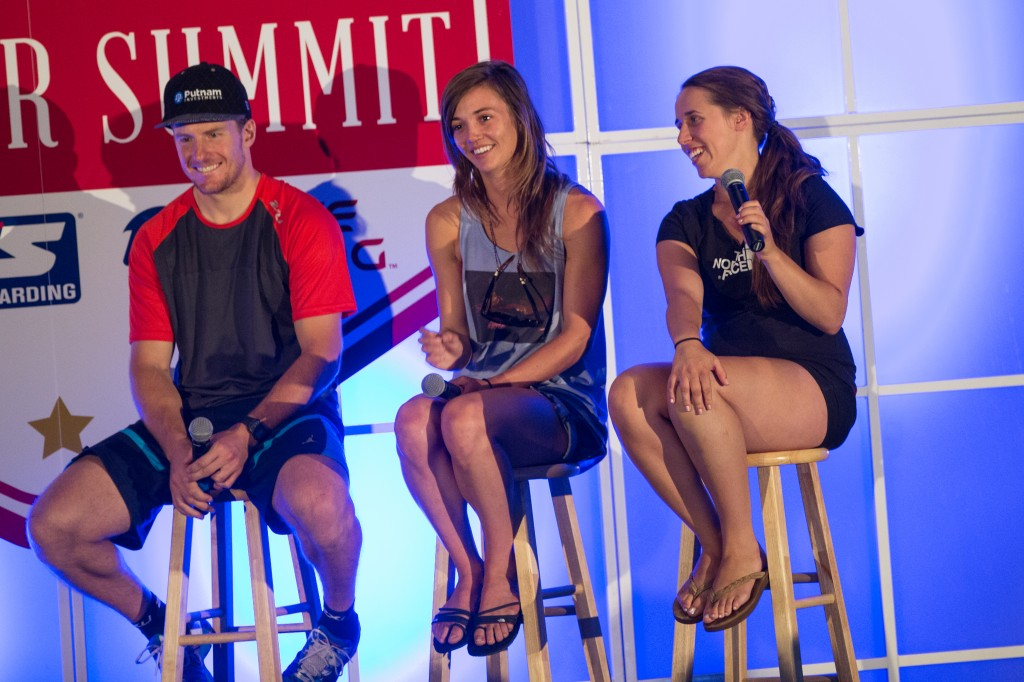 Olympic gold medalists Ted Ligety, Kaitlyn Farrington and Maddie Bowman at the 2014 Partner Summit. USSA