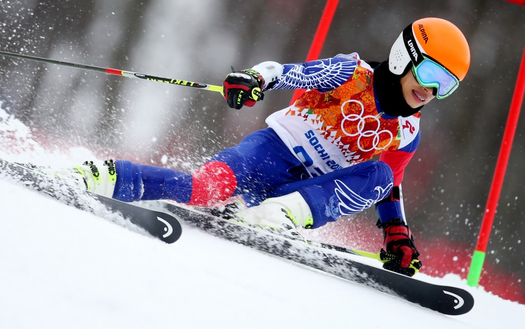 Vanessa-Mae competing as Vanessa Vanakorn in the Sochi Olympics. GEPA/Christian Walgram
