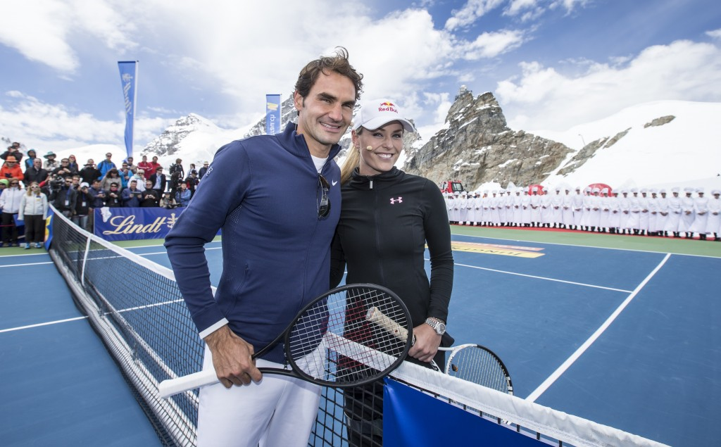 Roger Federer and Lindsey Vonn at the Lindt-sponsored match. PHOTOPRESS/Alexandra Wey
