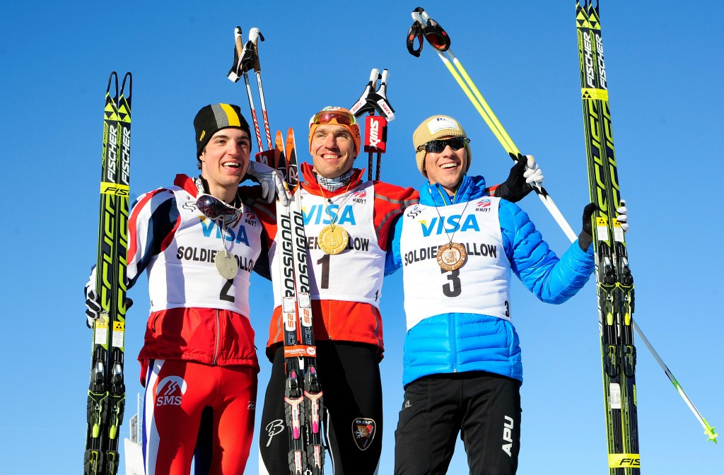 Ben Saxton [left] on the freestyle sprint podium at 2014 U.S. Nationals. USSA/Tom Kelly