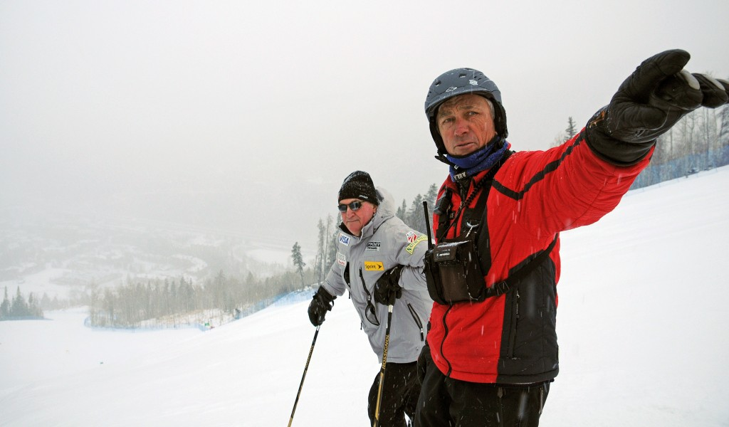 Aldo Radamus gives then USSA President and CEO Bill Marolt a tour of Golden Peak. USSA/Tom Kelly