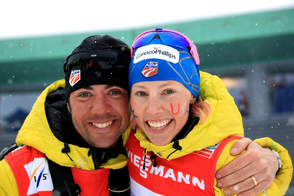 Coach Erik Flora and Kikkan Randall in 2013 at Val di Fiemme, Italy. USSA/Sarah Brunson