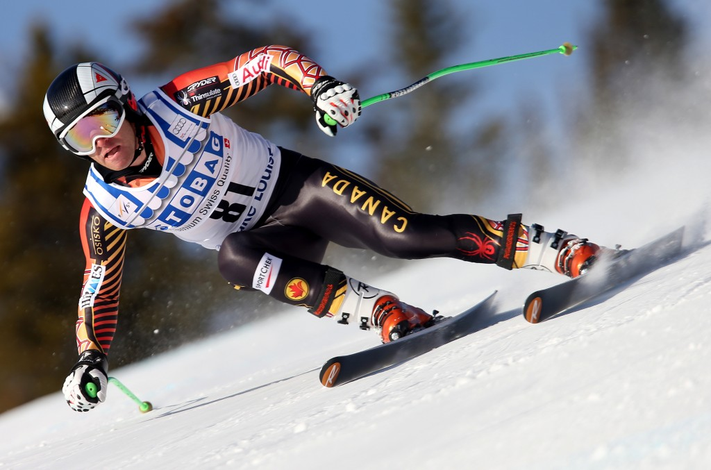 Robbie Dixon during training at the 2013 Lake Louise World Cup. GEPA/Mario Kneisl