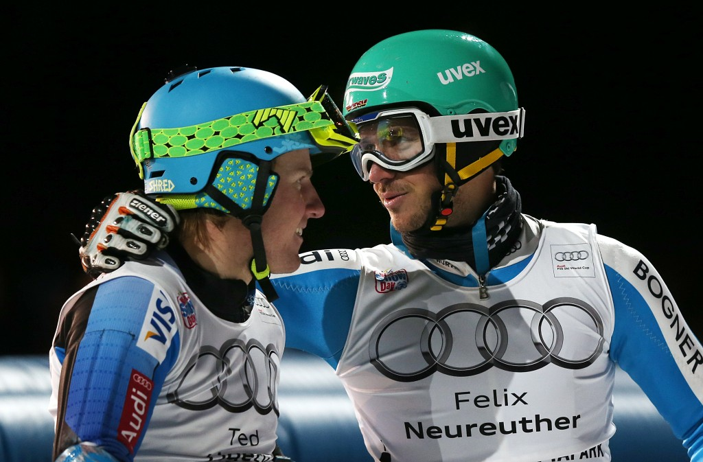 Ligety and Neureuther together at the 2013 Munich parallel slalom. GEPA/Christian Walgram