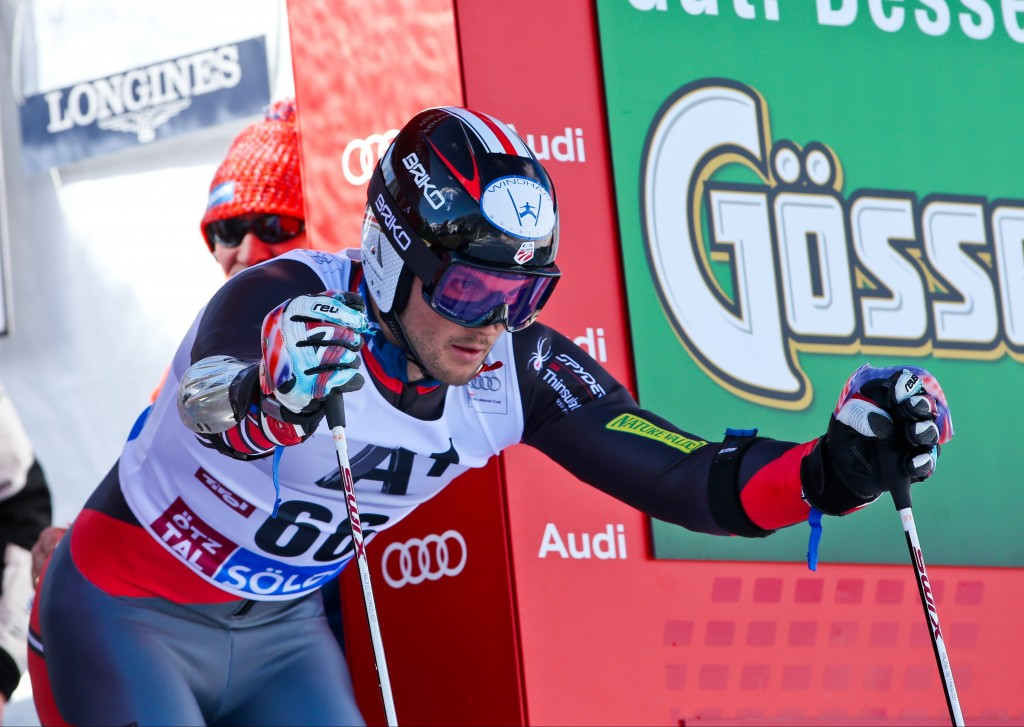 Tommy Biesemeyer in the start at the 2013 Soelden World Cup. GEPA/Markus Oberlaender