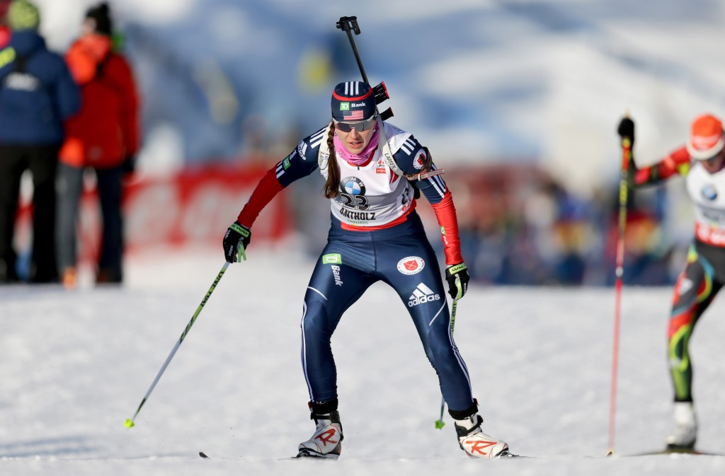 Sara Studebaker at a 2013 World Cup biathlon race in Italy. GEPA/Daniel Goetzhaber